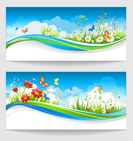 tranquility: Dos banderas del verano positivos soleadas con flores y mariposas