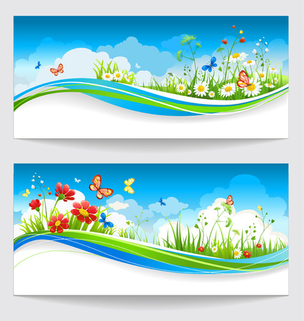 Two sunny positive summer banners with flowers and butterflies