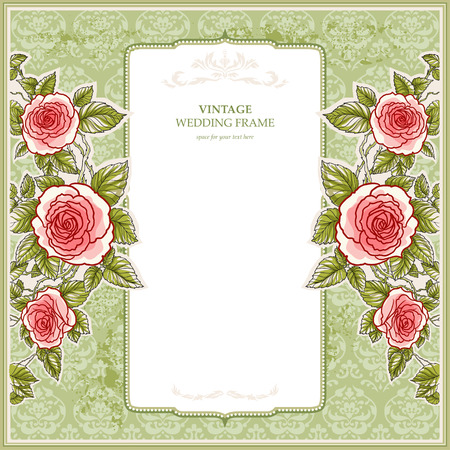 Vintage background for the wedding with roses with space for text   Vector