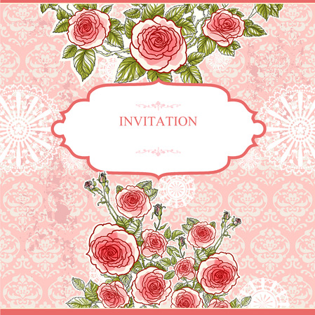 Wedding vintage background with roses with space for text   Vector
