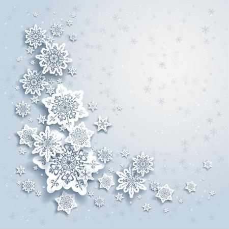 눈송이와 겨울 배경 일러스트