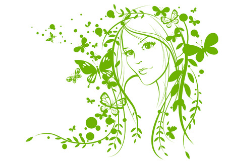 Sketch of girl face with  butterflies Vector