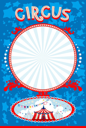 revue: Blue circus poster with space for text Illustration