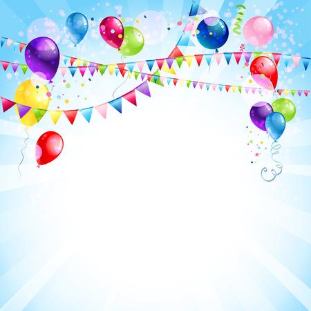 Blue Urlaub Hintergrund mit Luftballons