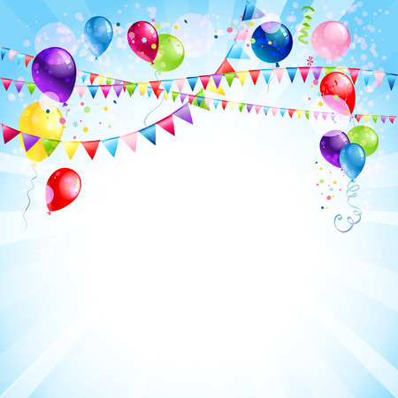 Blue holiday background with balloons Illustration