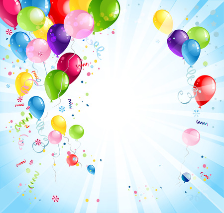 birthday celebration: Bright holiday background with balloons and flags