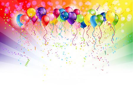 globos de cumpleaños: Backgrund multicolor y globos con espacio para el texto