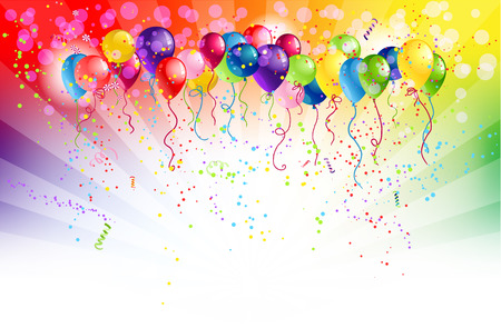 with space for text: Multicoloured backgrund and balloons with space for text Illustration
