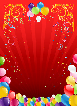 red balloons: Red holiday background with balloons Illustration