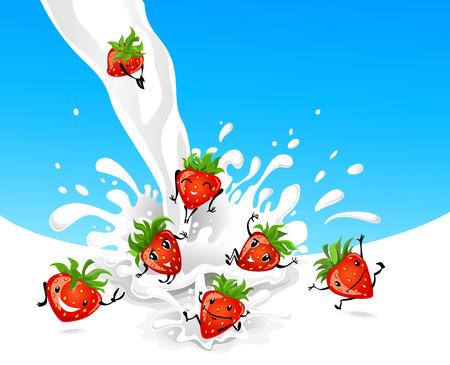 non alcohol: Fresas jugosas saltos en la leche Vectores