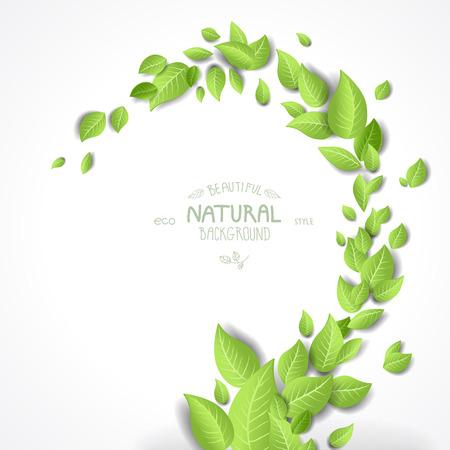 녹색 잎과 추상적 인 배경 일러스트