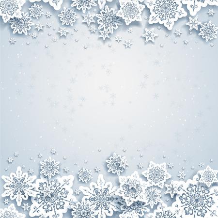 in winter: Inverno sfondo astratto con fiocchi di neve Vettoriali