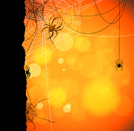 Autumn orange background with spiders and web Çizim