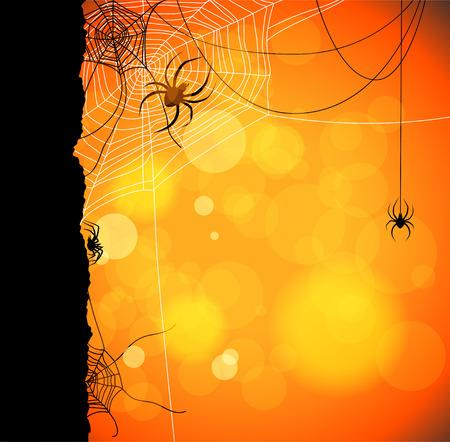 background herfst: Herfst oranje achtergrond met spinnen en web Stock Illustratie