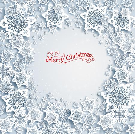 natale: Sfondo Natale con i fiocchi di neve con spazio per il testo Vettoriali