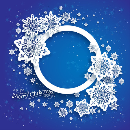 Christmas frame on blue background with space for text