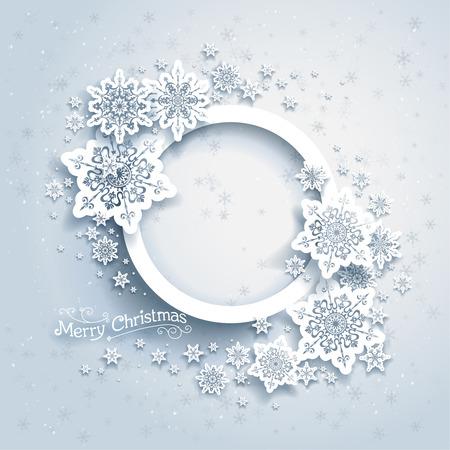 텍스트를위한 공간 눈 배경에 크리스마스 프레임