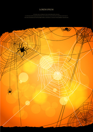 Orange background with spiders and web with space for text Vector