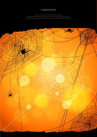 for text: Sfondo arancione con ragni e web con spazio per il testo