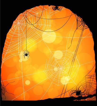 Spiders and web on orange background with space for text Vector