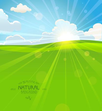 Sunny summer morning with sky and grass Ilustração