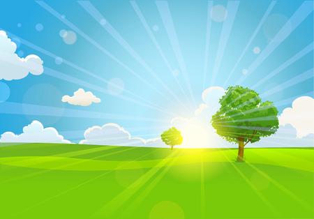 전원시의: 나무와 여름 화창한 아침