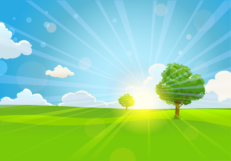 Summer sunny morning with trees Vector