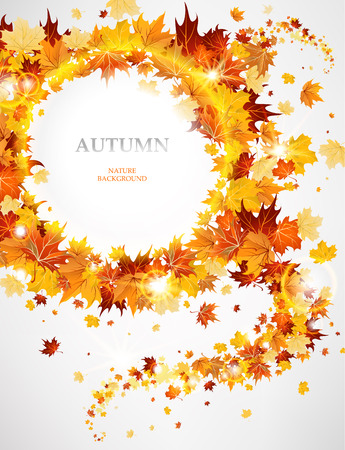 cooper: Abstract background with autumnal leaves with space for text