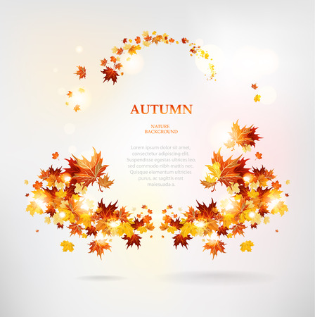 Abstract frame of autumn leaves with space for text Vector