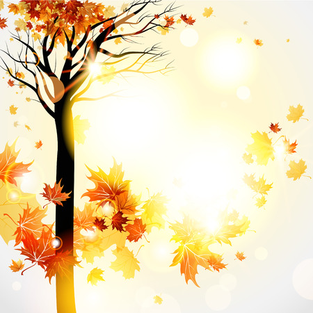 Beautiful autumnal background with maple tree and flying leaves