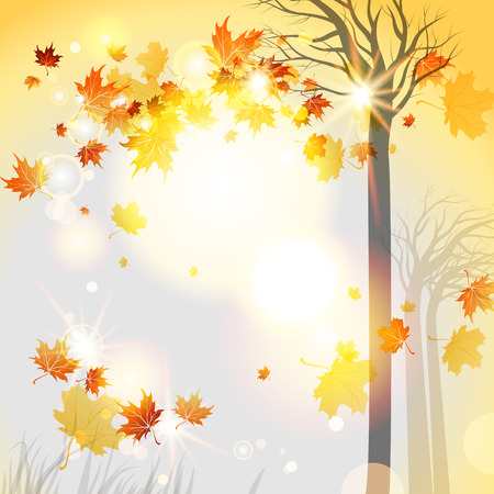 Abstract autumnal background with flying leaves and space for text Vector