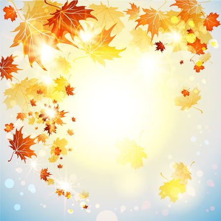 cooper: Background with flying autumn leaves. Place for text