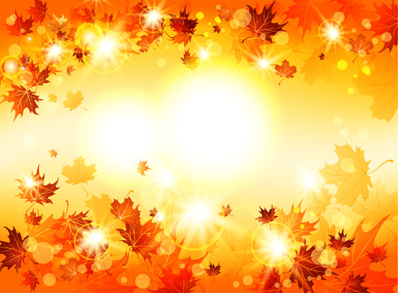 Bright abstract background with autumnal leaves with space for text Vector