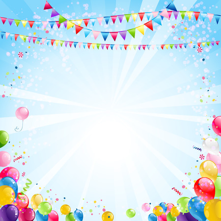 Holiday bright background with festive balloons Illustration