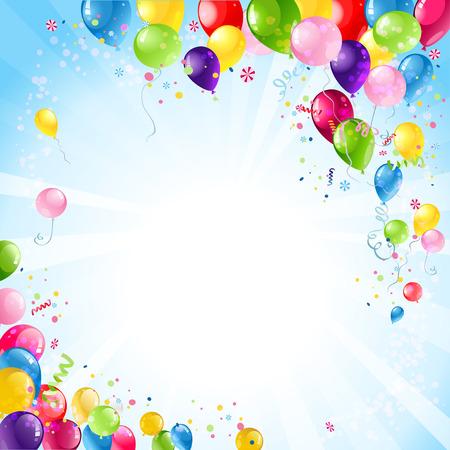 祝你生日快樂背景與氣球 向量圖像