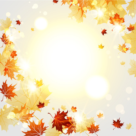 flying leaves: Bright autumn  background  with maple leaves with place for text