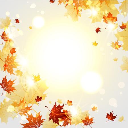 background herfst: Heldere herfst achtergrond met esdoorn bladeren met plaats voor tekst Stock Illustratie