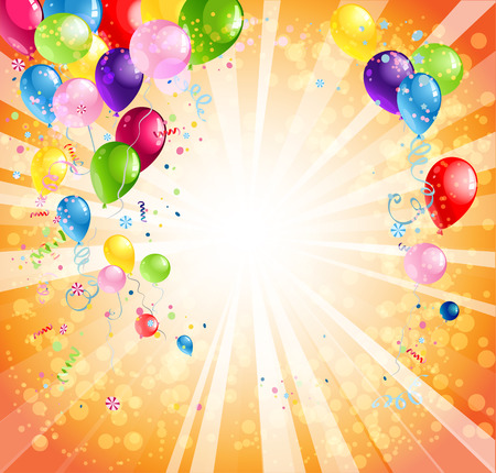 space background: Bright holiday background with balloons with space for text