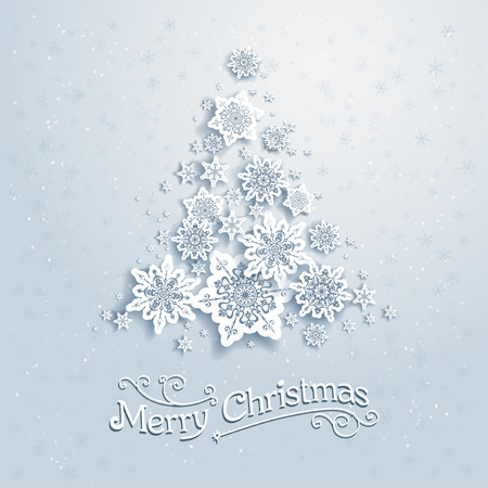 Christmas tree from snowflakes. Vector background with place for text Vector