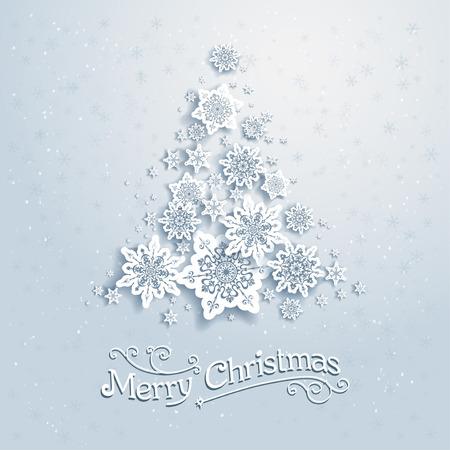Kerstboom van sneeuwvlokken. Vector achtergrond met plaats voor tekst Stock Illustratie