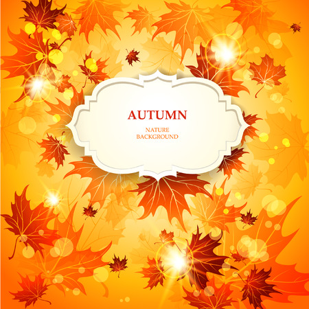 Bright autumn background with maple leaves Vector