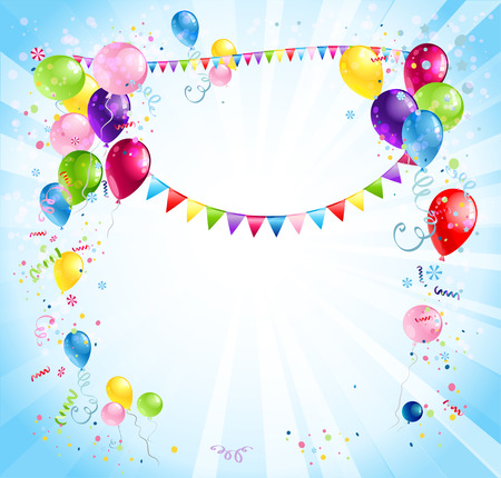 Bright holiday background with balloons and flags. Place for text. Vector