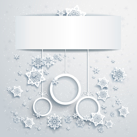 snowflake: Christmas background with abstract balls with place for text Illustration