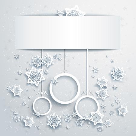 white christmas: Kerst achtergrond met abstracte ballen met plaats voor tekst Stock Illustratie