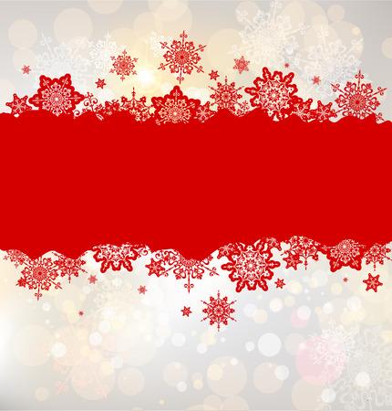 natale: Sfondo Natale con i fiocchi di neve rossi con posto per il testo Vettoriali