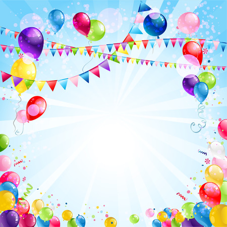 Festive bright background with balloons and flags