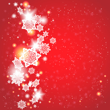 december holidays: Red background with snowflakes with place for text