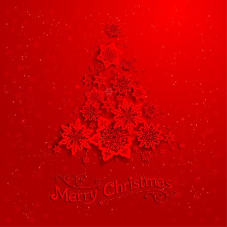 Červené vánoční strom s sněhové vločky Ilustrace