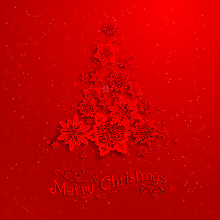 Red Christmas tree with snowflakes Vector