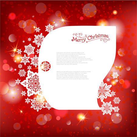 Red shining Christmas background with lights. Place for text. Vector
